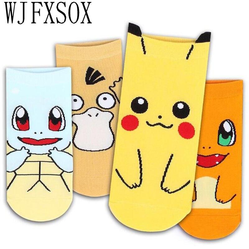 4 Pairs Cute Pokemon 3D Printed Female Socks Leisure Socks Pikachu Cotton Funny Socks Craft Gift Calcetines Casual Socks