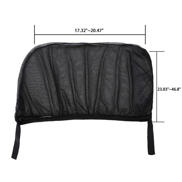 2Pcs Car Sun Visor Rear Side Window Sun Shade Mesh Fabric Sun Visor Shade Cover Shield UV Protector Black Auto Sunshade Curtain 3