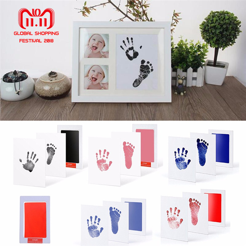 Baby Care Non-Toxic Baby Photo frame DIY Handprint Footprint Imprint Kit Baby Souvenirs Casting Clay Print Newborn Ink Pad Toys свитшот print bar danger toxic