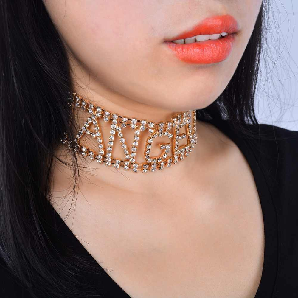 Rhinestone choker letter Necklace for Women crystal statement Chocker  Necklace jewellery party Collier Wholesale Dropshipping b5cf22607def