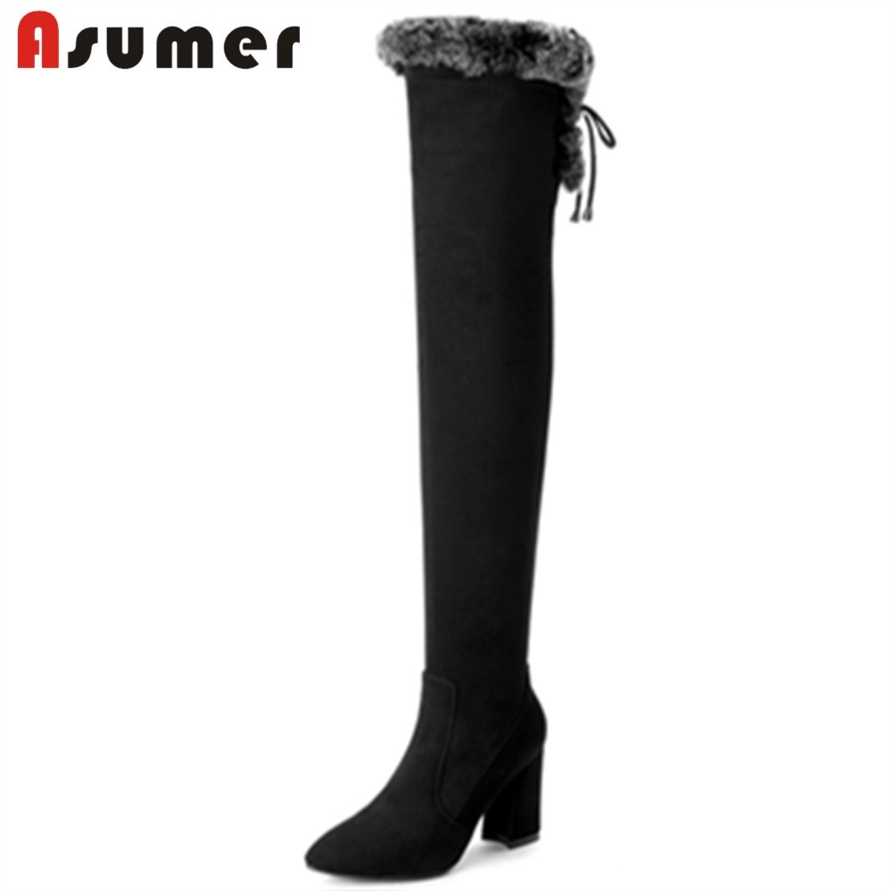 ASUMER 2018 NEW fashion fur over knee boots women high heels cow suede leather+stretch fabric pointed toe boots casual shoes