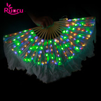 Ruoru 100% Silk One Pairs = 2 Pieces Belly Dance Led Fans Veil LED Belly Dance Silk Fan Veil Rainbow White Dance Props Costumes