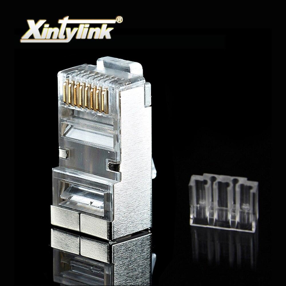 Xintylink 1000 pièces rj45 connecteur rj45 prise cat6 barre de charge réseau connecteur mâle en métal blindé 8P8C terminaux modulaires