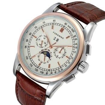 Модные мужские часы FORSINING, повседневные механические часы с ремешком из натуральной кожи со стразами и дисплеем