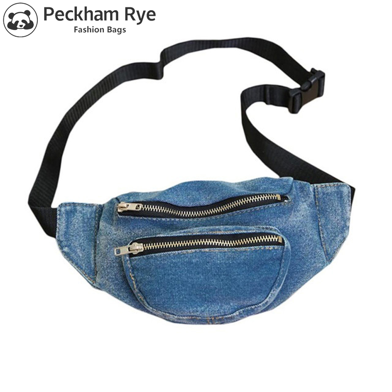 2 Zipper Pockets Jeans Women's Fanny Pack For Women Denim Waist Bags For Gilrs Denim Chest Bag For Travel Money Phone Purse