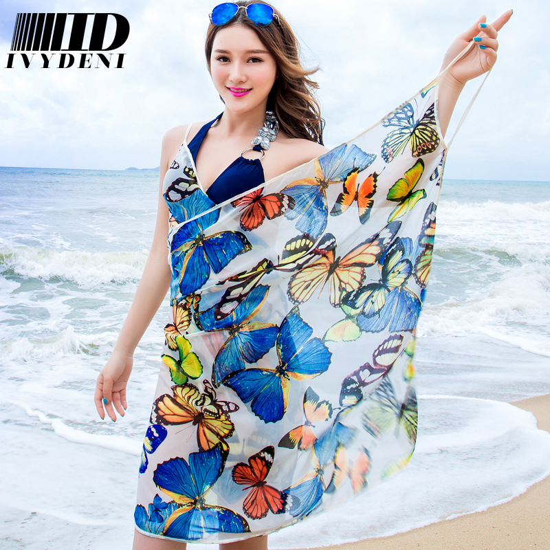 fbe96b30c060b 2016 New Pretty Butterfly Flowers Print Silk Chiffon Scarf Multi Wear Wome Beach  Cover Up