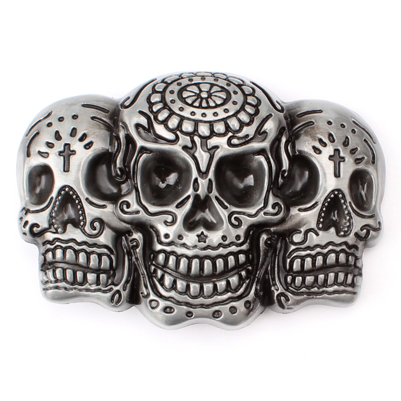 Three Skull Head Belt Buckle