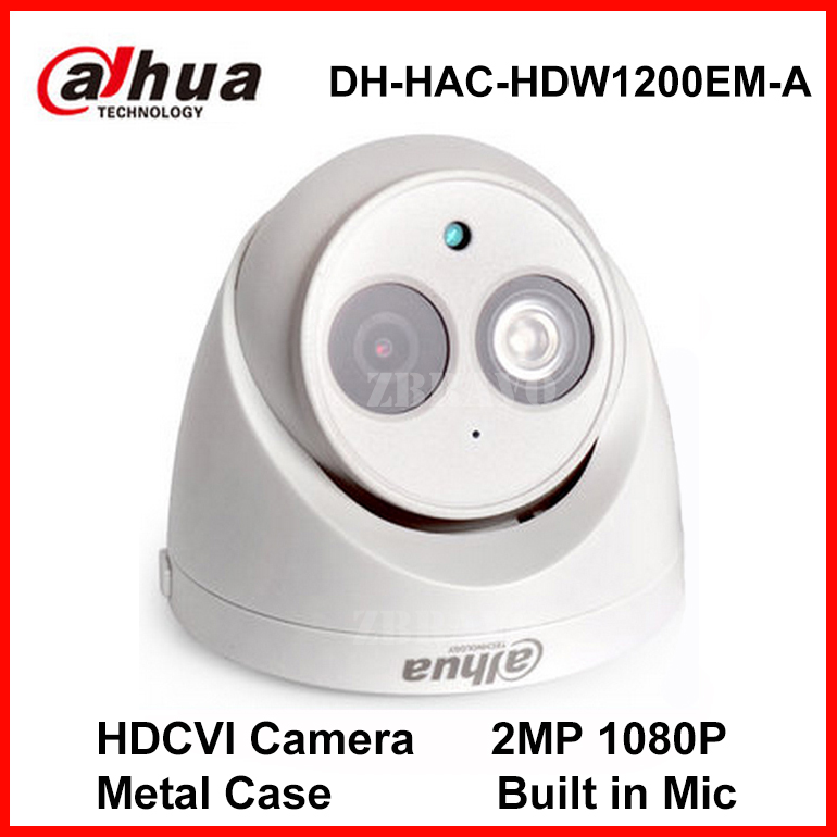 Dahua 2MP 1080P HDCVI Camera DH-HAC-HDW1200EM-A IR Dome Camera Metal Case Built-in Mic CCTV CVI Camera Audio CCTV Indoor 50M IR original dahua 4mp hdcvi camera dh hac hdw1400emp hdcvi ir dome security camera cctv ir distance 50m hac hdw1400em cvi camera