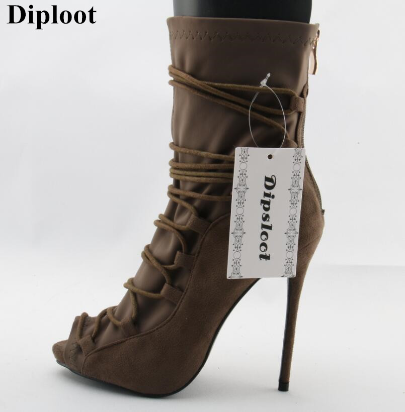 Dipsloot New 2018 Woman Sexy Open Toe Ankle Strap Boots Super Thin High Heels Dress Shoes For Ladies Back Zipper Short Boots все цены