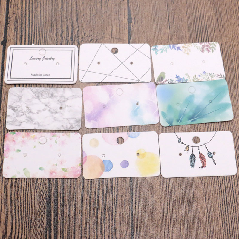 3*5cm Multicolor Earring Card 100pcs/lot White Ear Stud Packing Jewelry Stand Card Tags Custom Logo Wholesale