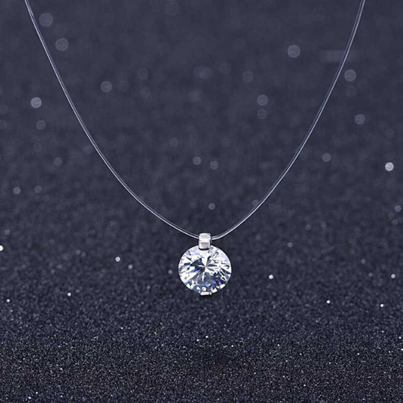 s925 Shining Zircon Stone Crystal Zircon Pendant Transparent Fishing Line Choker Necklaces Women Invisible Chain On Line Neck