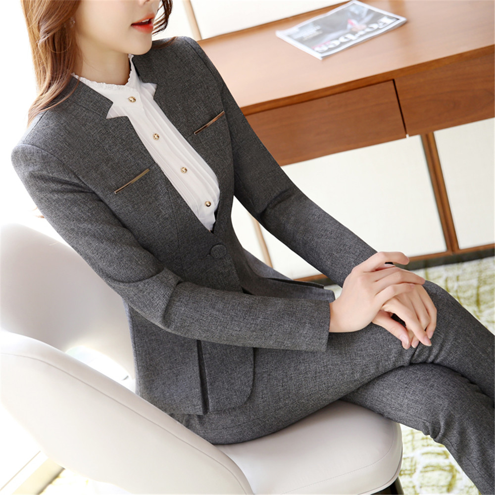 Womens Formal Suits Workwear Office Uniform Designs Women Office Suits Blazers Feminino Spa Uniform Elegant Business Pant Suits(China)