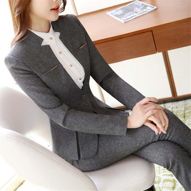 2d10ce7ed9 Online Shop Womens formal suits Workwear office uniform designs women  office suits blazers feminino spa uniform elegant business pant suits