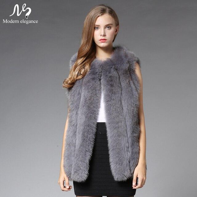 New Fashion Women Real Genuine Fox Fur Coat 70cm Sleeveless Jacket Waistcoat Gilet Winter Warm Real Natural Fox Fur Vest Female