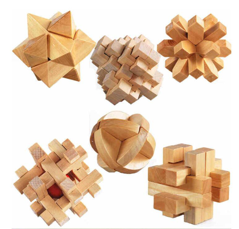 Freeship 6pc children kids Wooden Chinese traditional intelligent puzzle LUBAN lock toys adults teenage mind game competition