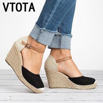 VTOTA plate-forme sandales à talons compensés 2018 couverture talon troupeau gladiateur boucle sangle couleurs mélangées chaussures d'été femme Sandalias Mujer H152