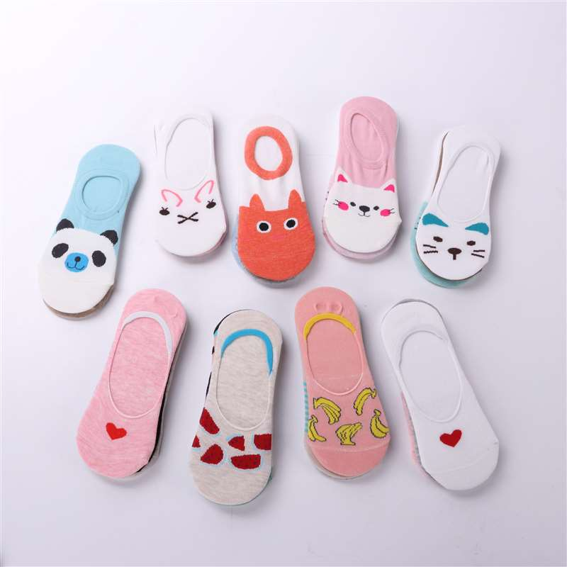 Wholesale 5 pairs/lot cute harajuku animal   socks   women summer korean cat bear rabbit funny low cut ankle   sock   happy sox Dropship