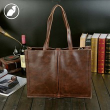 ETONWEAG New 2016 men famous brands cow leather vintage travel tote bags brown open multi-functional fashion shopping handbags
