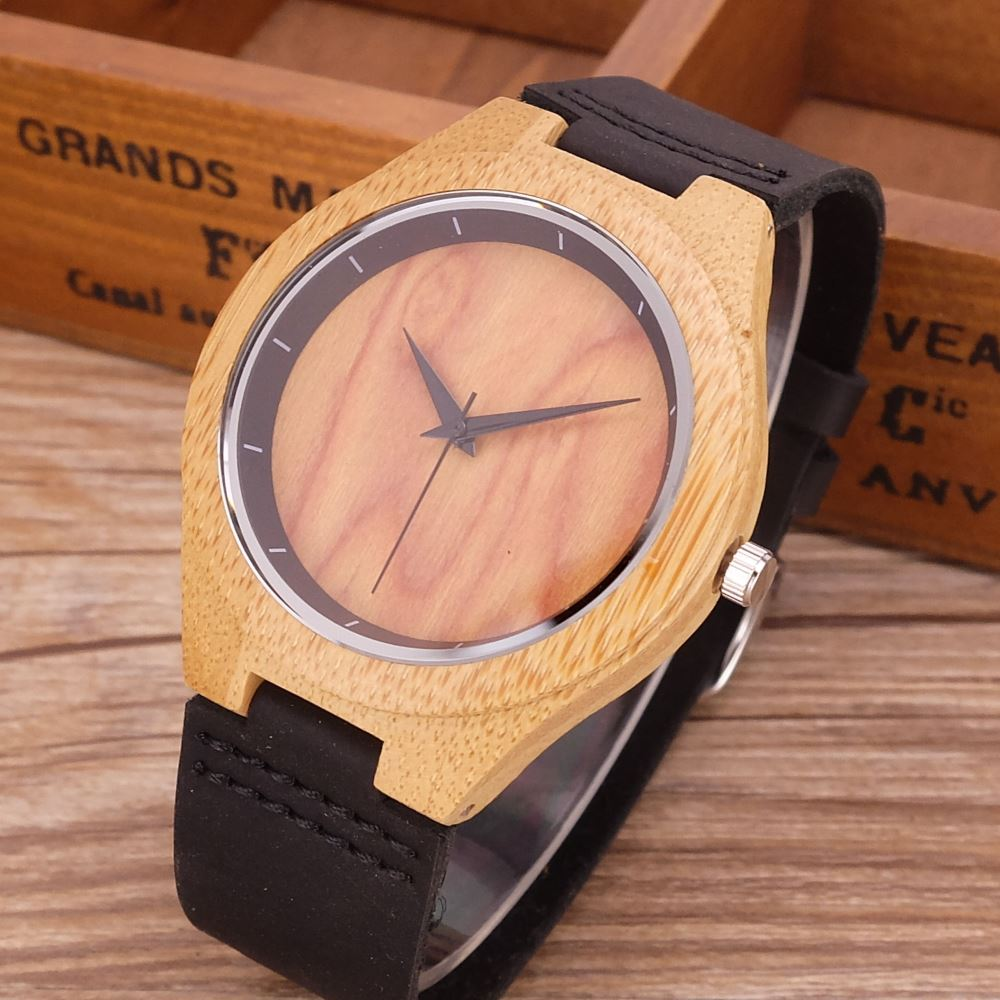 Nature flame dial Wood Watch Men Analog Quartz Genuine Leather Strap Fashion Novel Bamboo Wrist Watch Women Modern Cool Clock 2017 bamboo wood watch minimalist buddha genuine leather band strap nature wood bangle wristwatch unisex reloj hombre clock