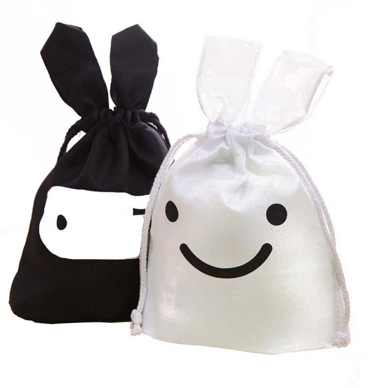 200pcs White Black Easter Bunny Ears Bag Gift Travel Organizer Cloth Bag Ninja Rabbit Juice Pouch Laundry Storage Bag ZA0837