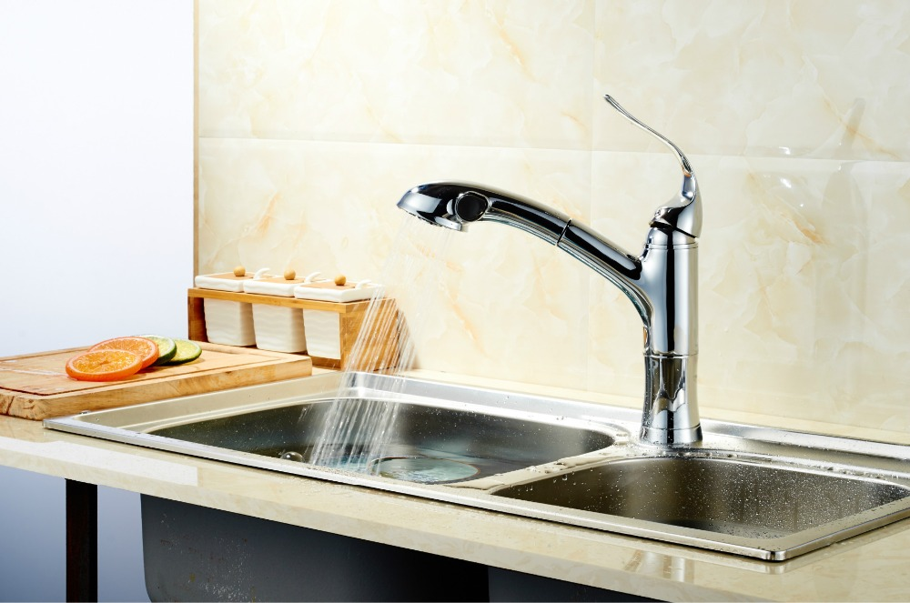 Kitchen faucets pull out basin faucets kot and cold water Sink taps kitchen deck mounted chromed single handle faucetKitchen faucets pull out basin faucets kot and cold water Sink taps kitchen deck mounted chromed single handle faucet