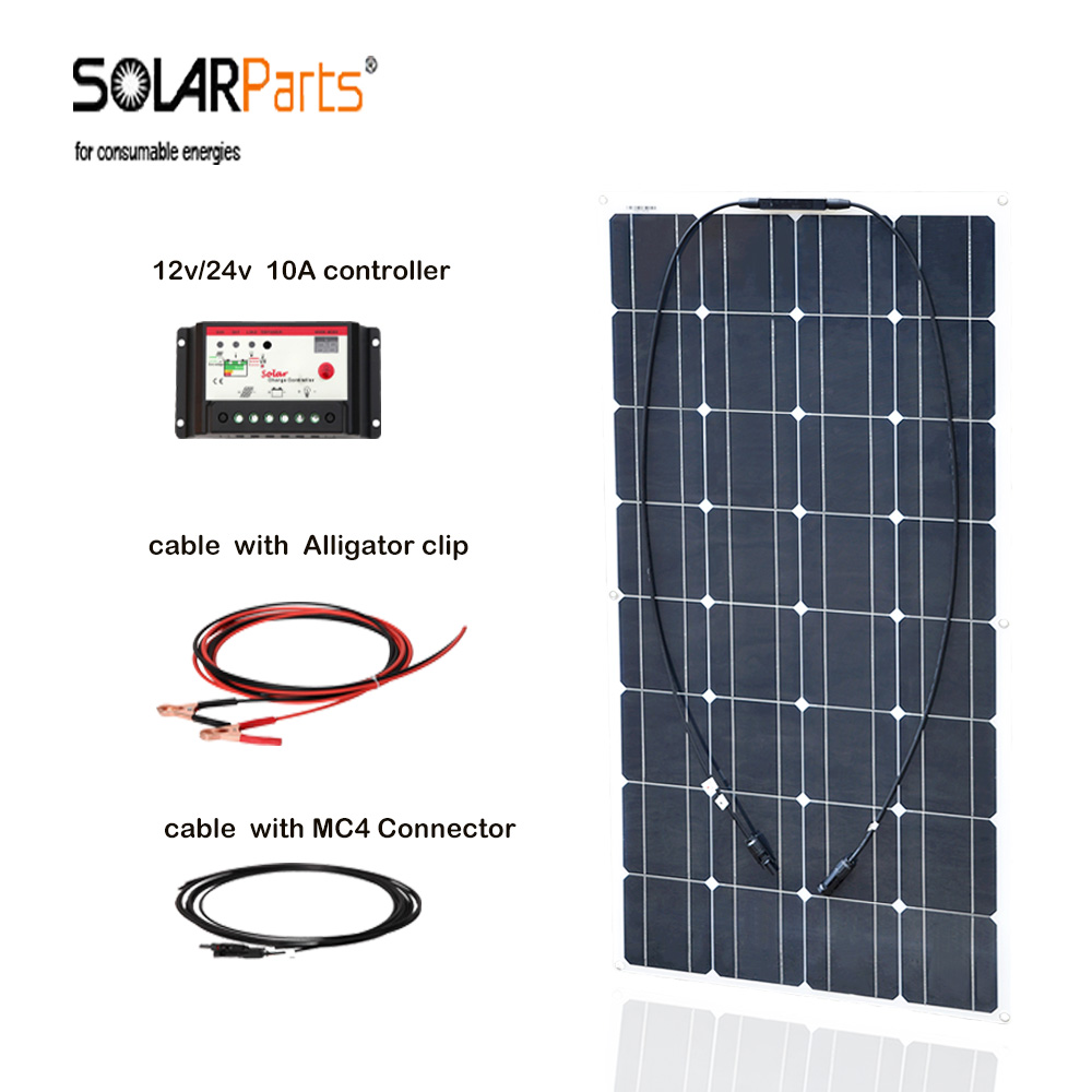 Boguang 100w Monocrystalline silicon solar panel cell solar system 10A controller cable MC4 connector for 12v battery charge boguang 200w solar system 100w flexible solar panel high efficiency monocrystalline silicon cell module 20a controller cable