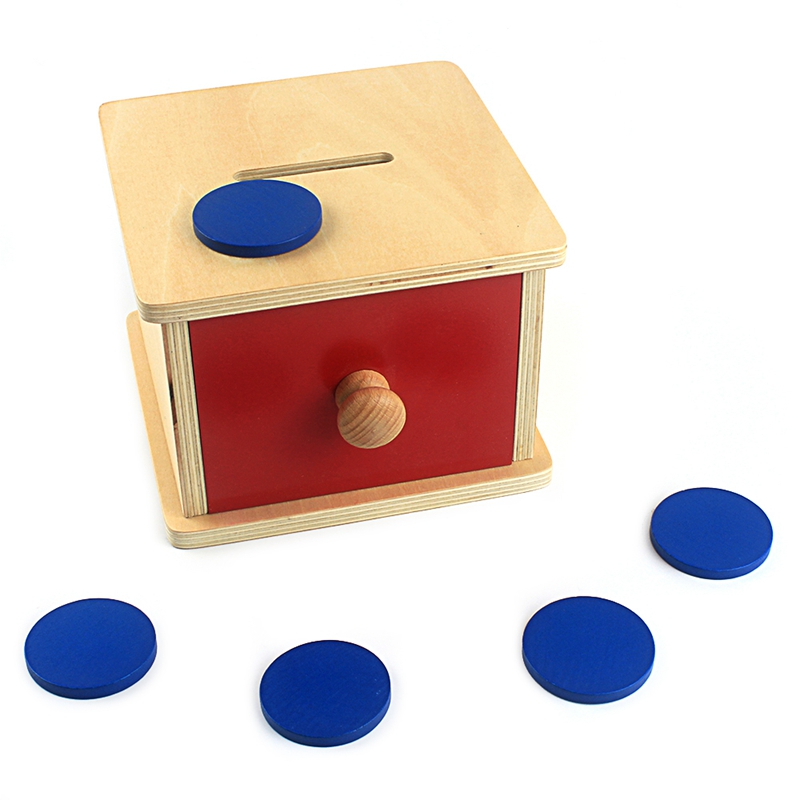 Montessori Wood Toy Coin Box Red Wooden Box Blue Coin Piggy Bank Coin Game Large Size Hand & Feet Finders Game Solid Wood Gift(China)