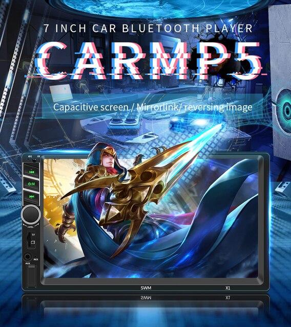 """7 """"12 V HD écran tactile Bluetooth voiture MP4 MP5 lecteur vidéo Audio FM Radio caméra de recul téléphone connecter voiture Displayer mains libres"""