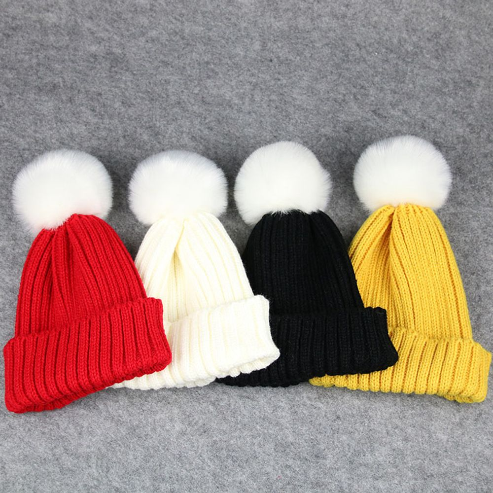 1PC Lovely Kids Children Boys Girl Winter Warmer Crochet Knitting Hat Soft  Wool Fur Cap Beanie Pompom Ball Party Adjustable Hat han edition spot qiu dong the day han2 ban3 girl gradient fashionable joker knitting wool hat