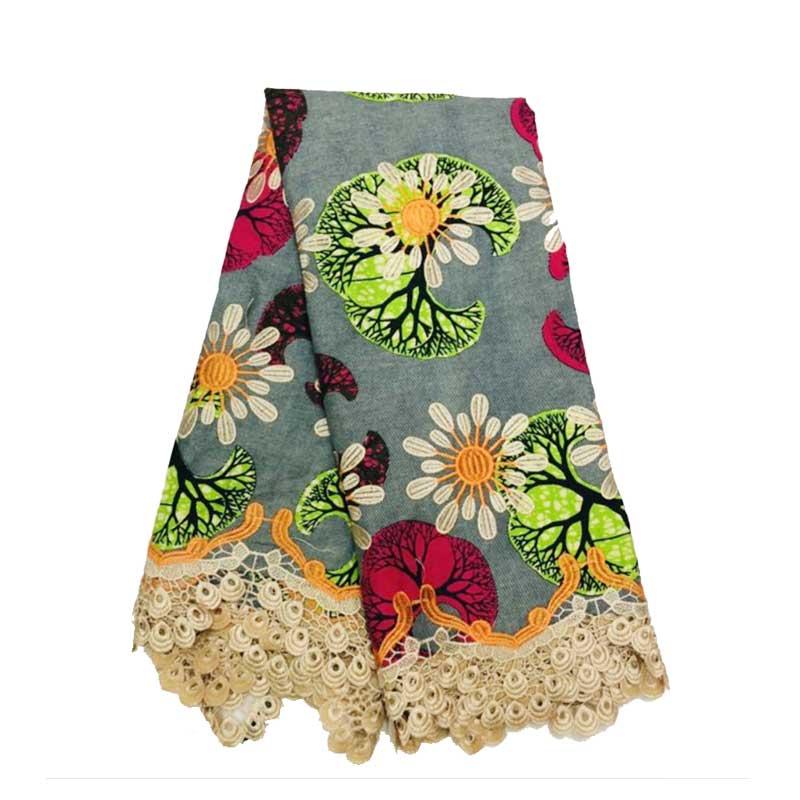 Super Java Print Fabric African Wax With Lace Nigerian Real Dutch Holland Block Prints Embroidery Fabrics Ankara Lace Wax