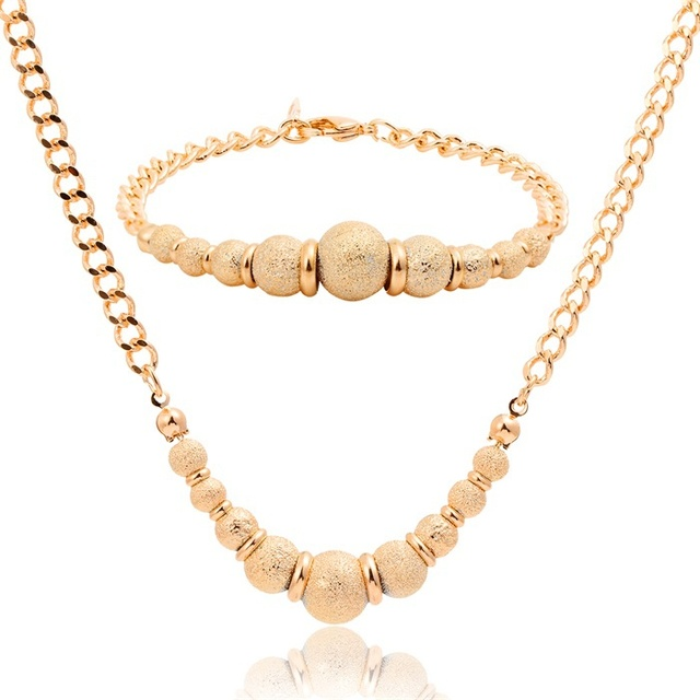 8593732ea822 New Yellow Gold Plated Royal Golden Matte Beads Singapore Chain Choker  Pendant Necklace Bracelet Bridal Women