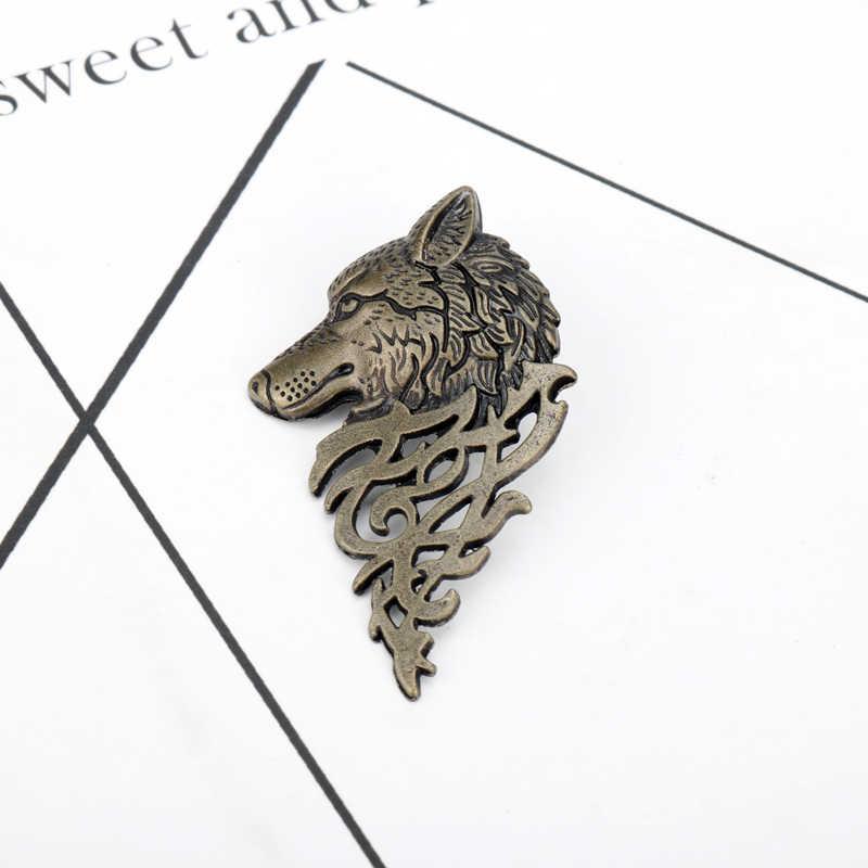 Homme Game Of Thrones Hollow Logam Serigala Kepala Bros Kerah Lencana Brosh Pin Hewan Hombre Kerah Pin Brosche untuk pria Pria