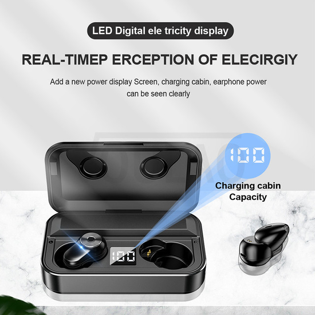 Bluetooth 6D Earbuds Waterproof With 3500mAh LED Smart Power Bank
