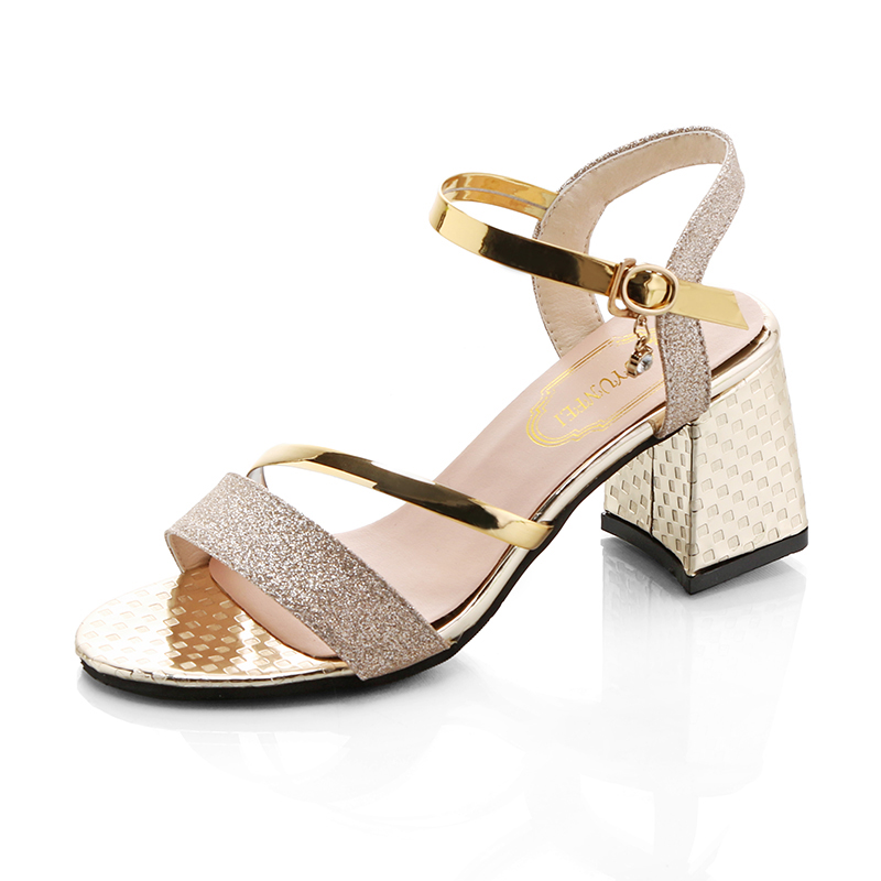 New Woman Shoes High Heels Shining Gold Sandals Comfort Summer Ladies Flip Flops 2017 -2009