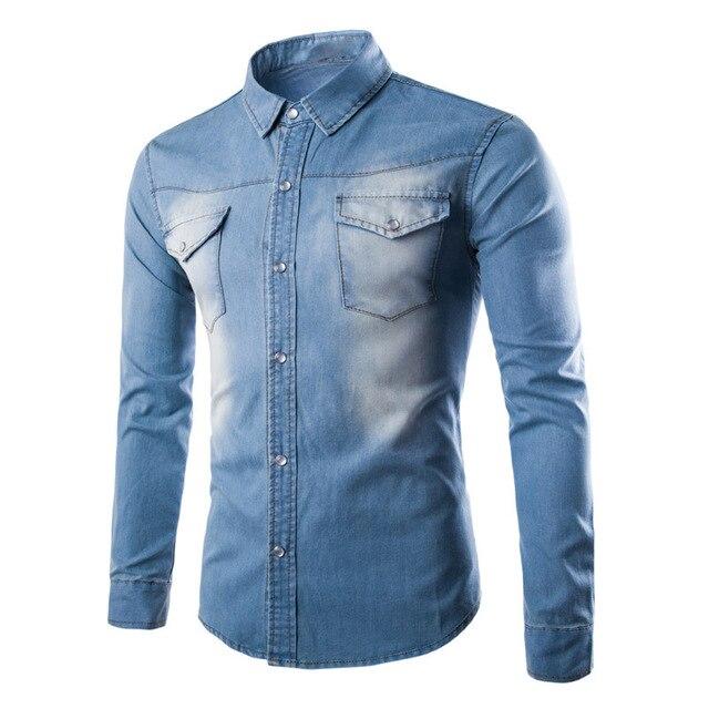 Для мужчин стиль боевой Для мужчин Мужская рубашка с длинным рукавом Повседневное деним мягкие джинсы рубашка социальной военные Большие размеры M-5XL синий и черная рубашка