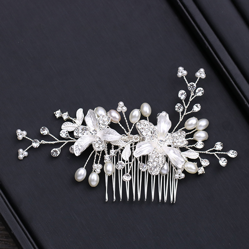 ALI shop ...  ... 32949522432 ... 4 ... 2018 New Design Silver Pearl Hair Jewelry Handmade Crystal Wedding Tiara Hair Combs Hot Sale Headpiece Bridal Hair Accessories ...