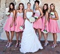 Pink 2017 Cheap Bridesmaid Dresses Under 50 A-line Sweetheart Chiffon Lace Crystals Short Wedding Party Dresses