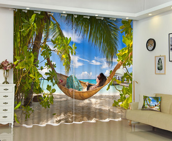 Photo Of Beach Style 3D Window Curtain For Your House