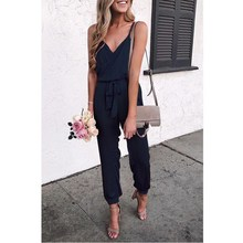 Fashion 2019 Plus Size Women V Neck Spaghetti Strap Loose Jumpsuit 2019 Summer Sleeveless Belt Casual Jumpsuit Solid Overalls fashion v neck sleeveless solid color jumpsuit for women