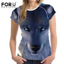 FORUDESIGNS Summer Fashion Women Wolf T Shirt 3D Animal T-Shirt Casual Funny 3D T Shirt Ladies Crewneck Short Sleeve T Shirt Top