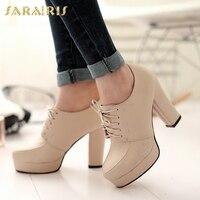 SARAIRIS/Новинка; большие размеры 31-43; Демисезонные ботинки; обувь на платформе со шнуровкой; модные женские туфли из органической кожи на высок...