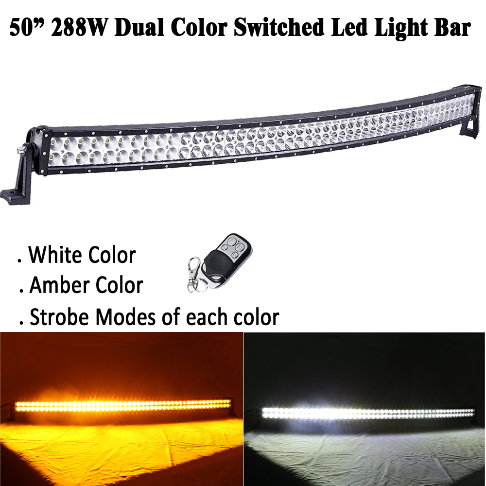 50INCH 288W White Amber Dual color Switched Strobeflash Led Curved Light Bar Spot Flood Combo for OFFROAD JEEP Truck ATV Hunting