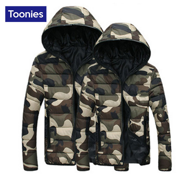 2017 New Winter Men Coat Cotton-Padded Zipper Outwear Jacket His-and-Hers Military Camouflage Hooded Clothes Warm Men's Top