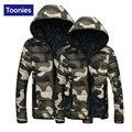 2017 Novos Homens de Inverno Casaco de Algodão-Acolchoado Com Zíper Outwear Jaqueta Dele-e-Dela Roupas Militares de Camuflagem Com Capuz dos homens quentes Top