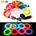 2 M/unids 10 Colores LED Luz de Tira Flexible para EL Cable de la Cuerda tubo de Neón de Luz Fría Línea Glow Party la Decoración Del Coche con 12 V inversor