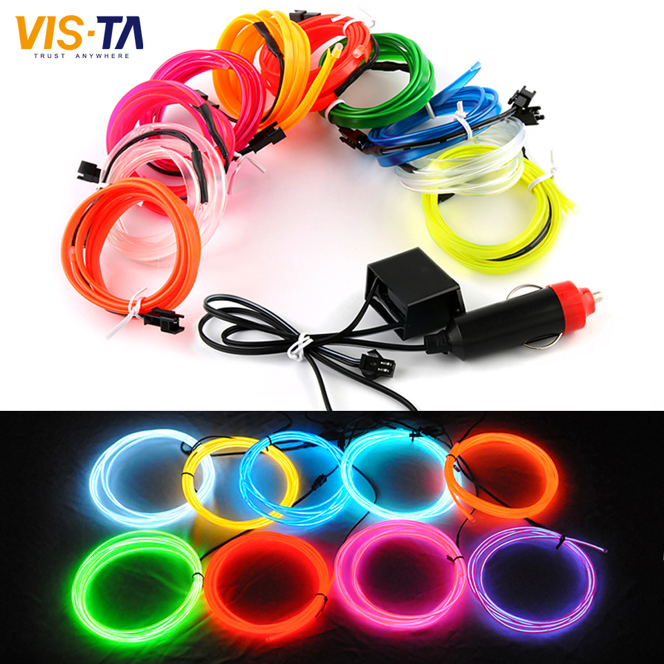 2m pcs 10 colors flexible led strip light for el wire rope tube neon cold light line glow party. Black Bedroom Furniture Sets. Home Design Ideas