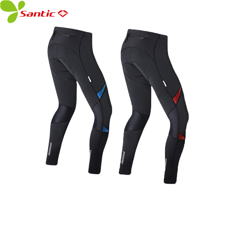 Santic Winter Cycling Pants for Men Reflective Thermal Fleece Back Pocket Tight GEL Pad Off Road