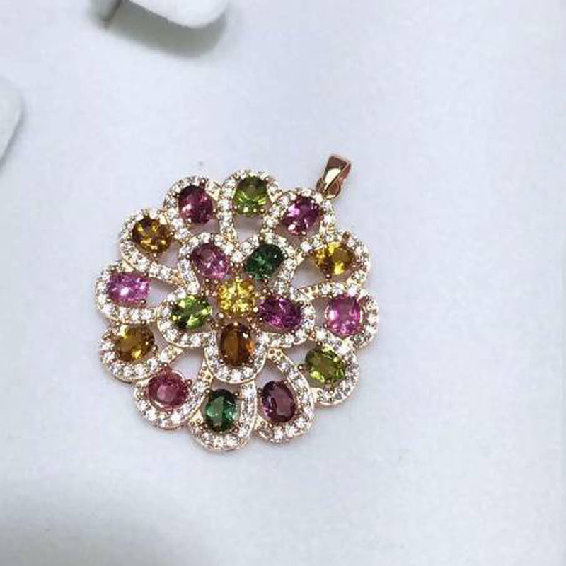 2017 Collares Qi Xuan_Tourmaline Stone Flower Pendant Necklaces_Real Necklaces_Quality Guaranteed_Manufacturer Directly Sale 2017 Collares Qi Xuan_Tourmaline Stone Flower Pendant Necklaces_Real Necklaces_Quality Guaranteed_Manufacturer Directly Sale