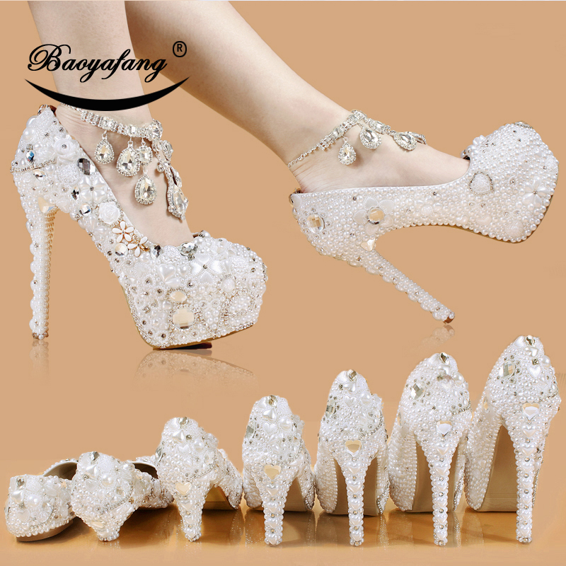 White pearl Wedding shoes crystal Ankle strap High round Toe Pumps Platform shoes Thin Heel fashion