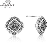 Mytys Square 925 Sterling Silver Stud Earrings Pave Setting Marcasite Black Grey Antique Earrings Women Costume Jewelry CE584(China)